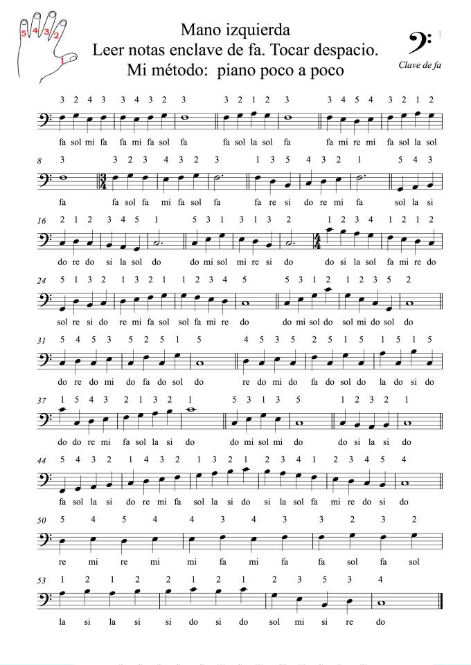 Mano izquierda Leer notas enclave de fa Tocar despacio Mi método piano poco a poco