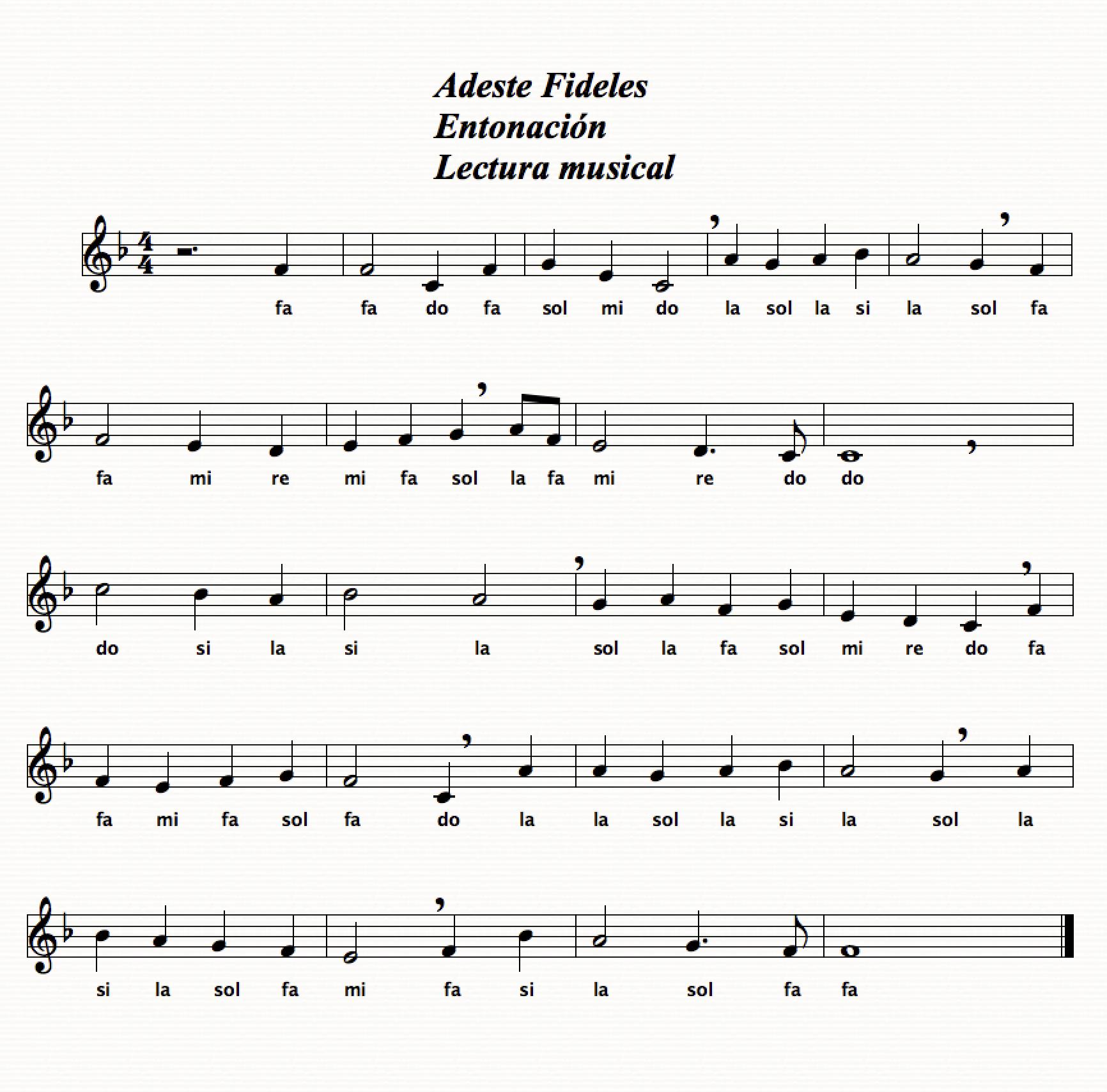 adeste fideles lectura musical